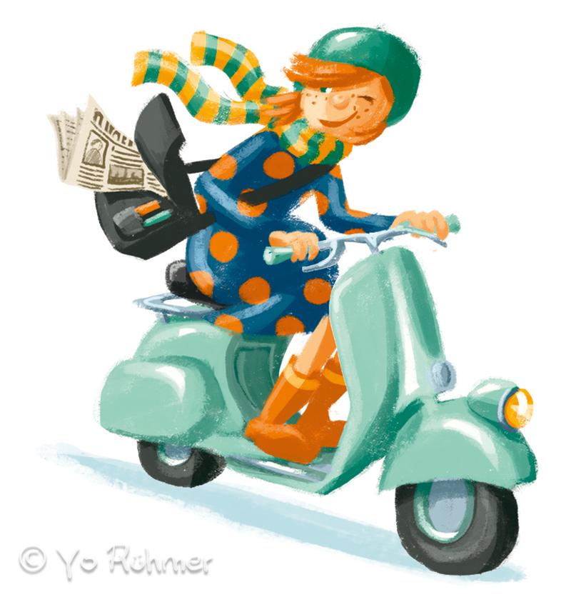 Rollerfahrerin