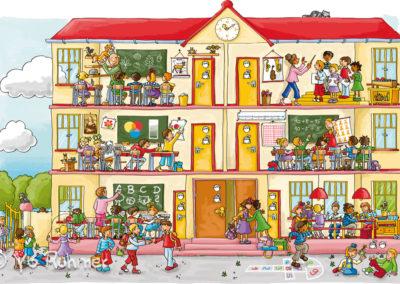 Schulgebäude_Schulbuchillustration