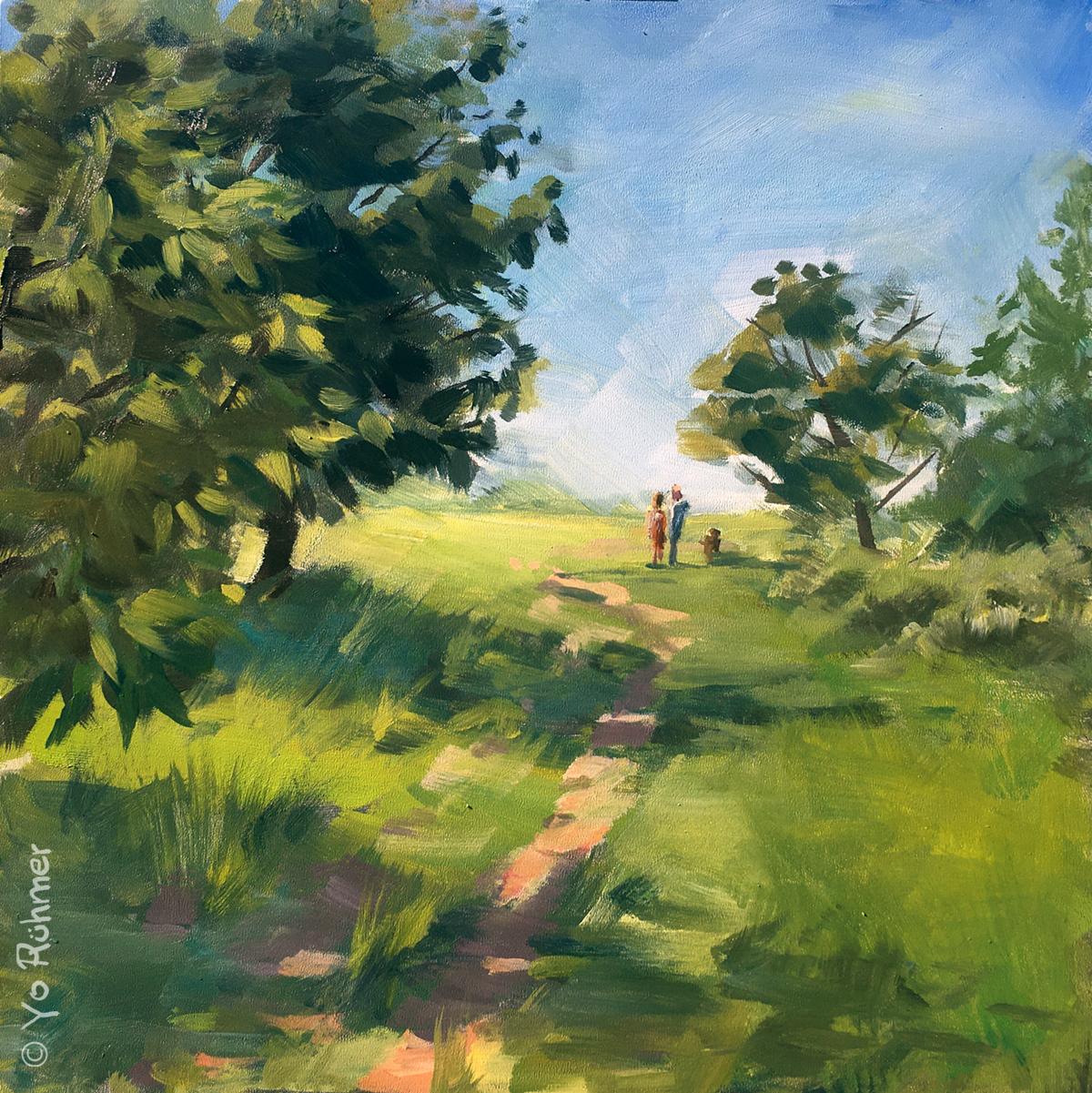 Feldweg Ölbild