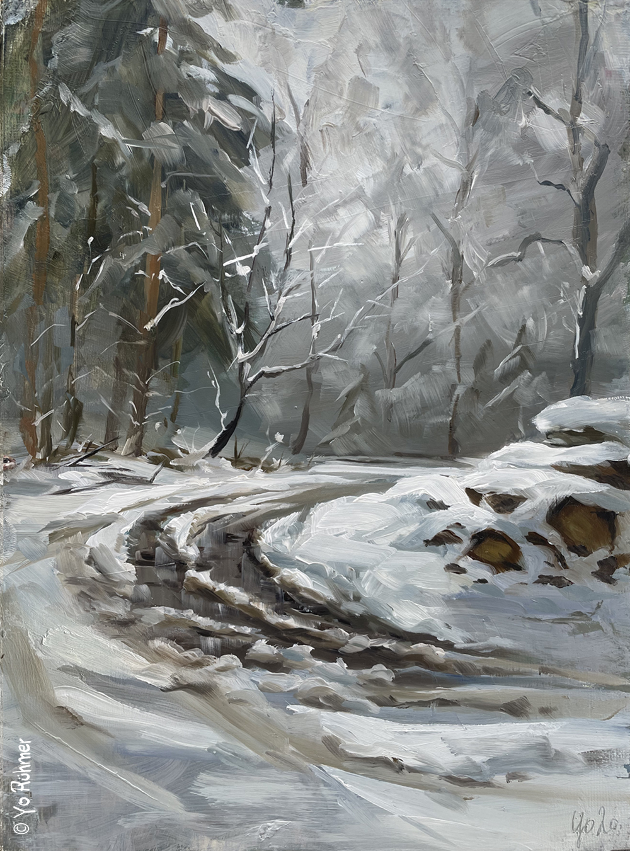 Schneepfütze_Ölbild