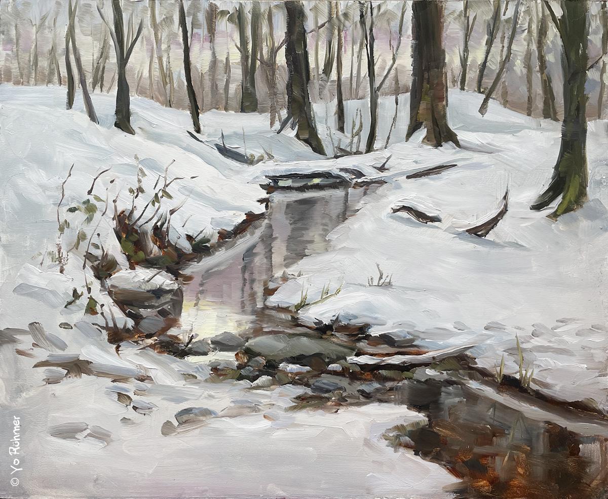 Schneebach gemalt Ölbild