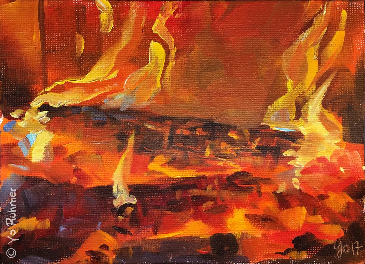 Kaminfeuer ölbild