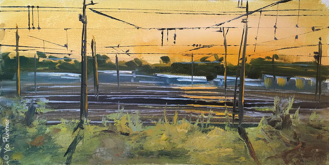 Gleisanlage gemalt