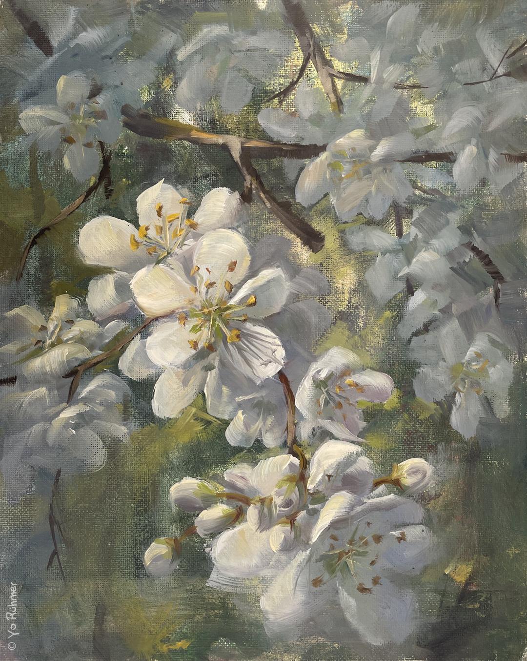 Blüten gemalt