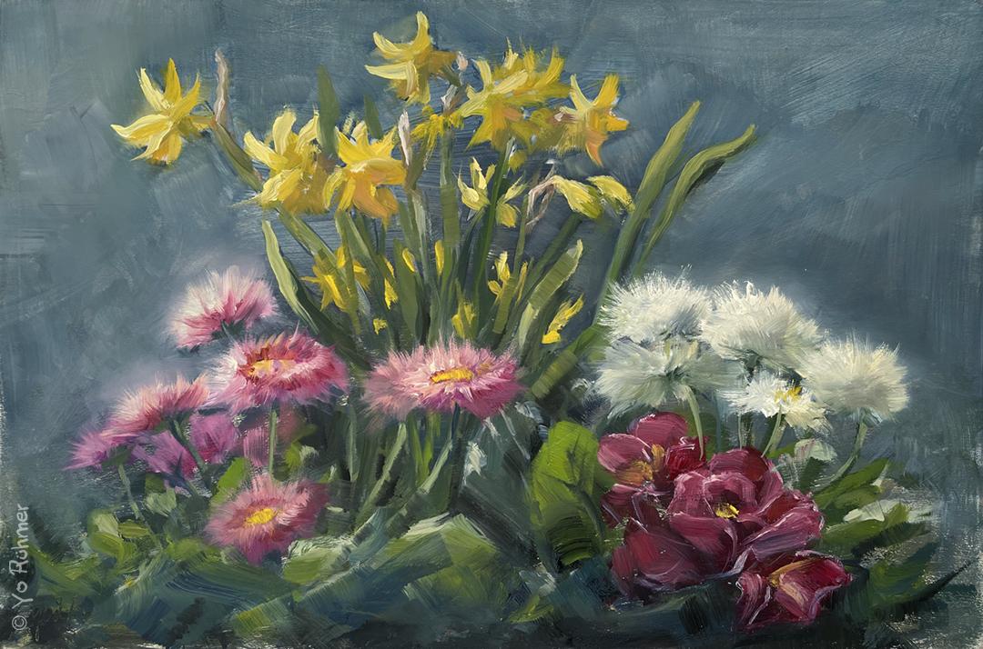 fruehlingsblumen Ölbild